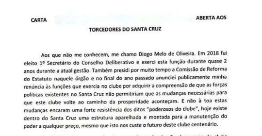 Carta assinada por Diogo Melo ganhou as redes sociais e o apoio de torcedores   (Divulgação)