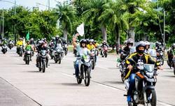 Motociata pró-Bolsonaro foi realizada no Recife neste domingo (Foto: Marconi Meireles/Cortesia)