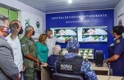 Prefeitura de Camaragibe e Polícia Militar inauguram central de videomonitoramento em Aldeia (Foto: Divulgação/Prefeitura de Camaragibe)