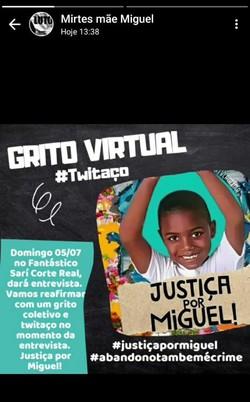 Mãe de Miguel pede twittaço simultâneo à entrevista de ex-patroa no Fantástico (Foto: Reprodução)