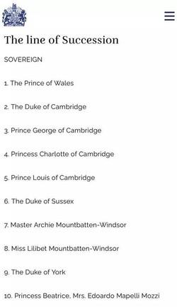 Lilibet Diana é incluída como membro na linha de sucessão da família real (foto: Reprodução/Site Oficial da Realeza Britânica)