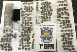 Ex-presidiário é preso em flagrante por tráfico de drogas em Jardim Brasil, Olinda (PM-PE/Divulgação)