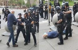 Policiais agridem idoso em protesto nos EUA; agentes ignoraram a cena (Foto: Divulgação/TV)