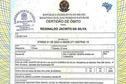 Atestado de óbito no Recife é usado em fake news (Foto: Reprodução/WhatsApp)