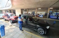 Drive-thru de testagem da Covid-19 no Cecon muda fluxo de entrada para veículos (Foto: Divulgação)