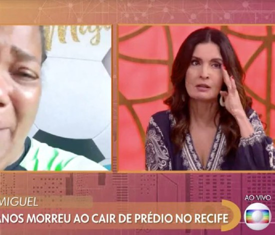 Fátima Bernardes chora durante entrevista com Mirtes Renata, mãe de Miguel (Internet / Reprodução)