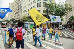 Estudantes se reúnem às 16h no Senado Federal contra a PEC Emergencial (O ato ocorre junto com mobilizações marcadas para esta quinta-feira em 16 cidades brasileiras contra os cortes na educação. Foto: Reprodução/Twitter)