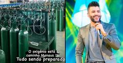 Gusttavo Lima e famosos doam equipamentos para hospitais em Manaus (Fotos: Instagram / Reprodução / Divulgação)