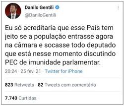Câmara pede prisão de Danilo Gentili ao Supremo (Foto: Reprodução/Twitter)
