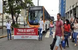 Rodoviários protestam no Centro do Recife devido a dupla função e reivindicam 100% da frota em circulação  (Foto: Reprodução)