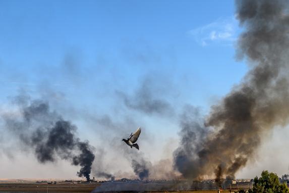 """FOTOS DA SEMANA - (07 - 11 Outubro de 2019) (A fumaça sobe da cidade síria de Tal Abyad, em uma foto tirada do lado turco da fronteira, onde um pombo é visto em Akcakale em 10 de outubro de 2019, no segundo dia da operação militar da Turquia contra as forças curdas. - A Turquia prometeu destruir as Unidades de Proteção do Povo da Síria (YPG), que controlam grande parte do nordeste da Síria, e criou uma """"zona segura"""" para o retorno de refugiados sírios. Até agora, 70 pessoas foram feridas em áreas turcas. As famílias estavam evacuando e as ruas esvaziando em Akcakale, enquanto as autoridades locais pediam que as pessoas se refugiassem. (Foto de BULENT KILIC / AFP))"""