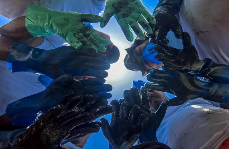 FOTOS DO DIA - 24 de Outubro de 2019 (Reeducandos e voluntários fazem multirão de retirada de oléo na praia do Pilar em Itamaracá, litoral do estado de Pernambuco, nesta quinta-feira (24). Foto: Leandro de Santana / Esp.DP FOTO.)