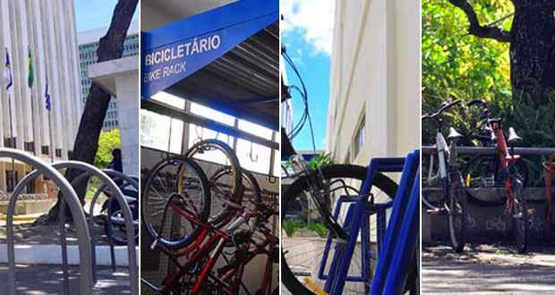 Tipos de bicicletários citados acima. Fotos: DP/D.A Press
