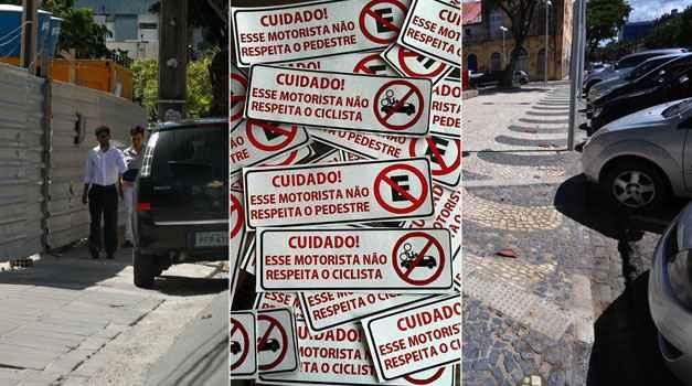 Adesivos serão colados em veículos que invadirem o espaço do pedestre e do ciclista. Crédito: Cicloação/Reprodução e DP/DA Press. (Fotos: DP/DA/Press. )