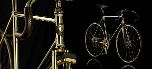 Bicicleta Gold Bike Crystal é revestida em ouro e adornada com cristais. Foto: Aurumania/Divulgação (Aurumania/Divulgação)
