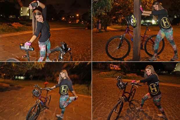 Mercadóloga Larissa Taís, de 25 anos, começou a pedalar duas vezes por semana e não abre mão dos alongamentos. Foto: Roberto Ramos/DP/D.A Press