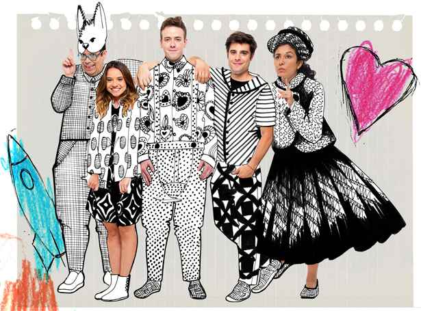 Os atores de 'Fonchito e a Lua' %u201Cvestidos%u201D com os desenhos criados para a peça. Foto: Leonardo Aversa/Divulgação