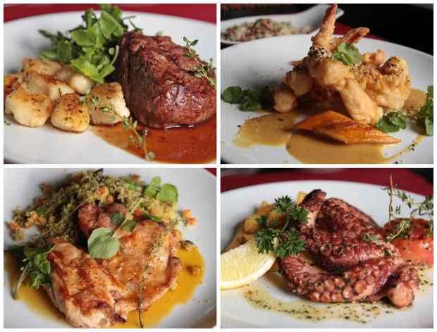Entre as novas criações do menu fixo do Prouvot Cozinha.Bar, o Filé com nhoque de batatas asterix, os Camarões com tempurá thai, o Franguinho ao leite com cuscuz marroquino e o Polvo mediterrâneo. Créditos: Roberto Ramos/DP/DA Press