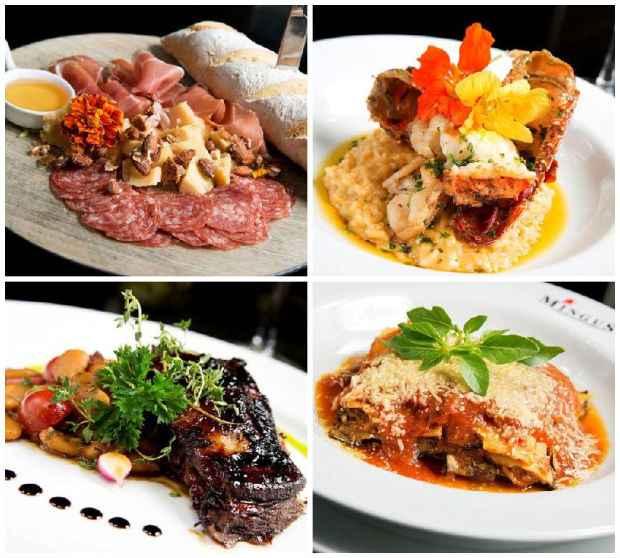 Salumeria de entrada; Risoto de lagosta; Paleta de cordeiro; Lasanha de beringela. Créditos: Aderval Mendonça/Divulgação