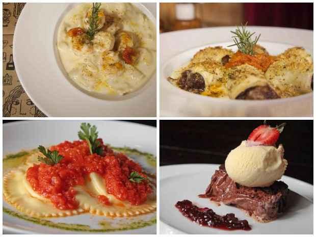(Camarão ao champanhe, Mezzaluna de vitelo, Raviolloni de queijo cabra e Terrine de chocolate belga. Difícil é escolher...)