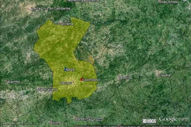 Epicentro foi registrado a cinco quilômetros do Centro de Caruaru. Reprodução/Laboratório Sismológico da UFRN (Reprodução/Laboratório Sismológico da UFRN)