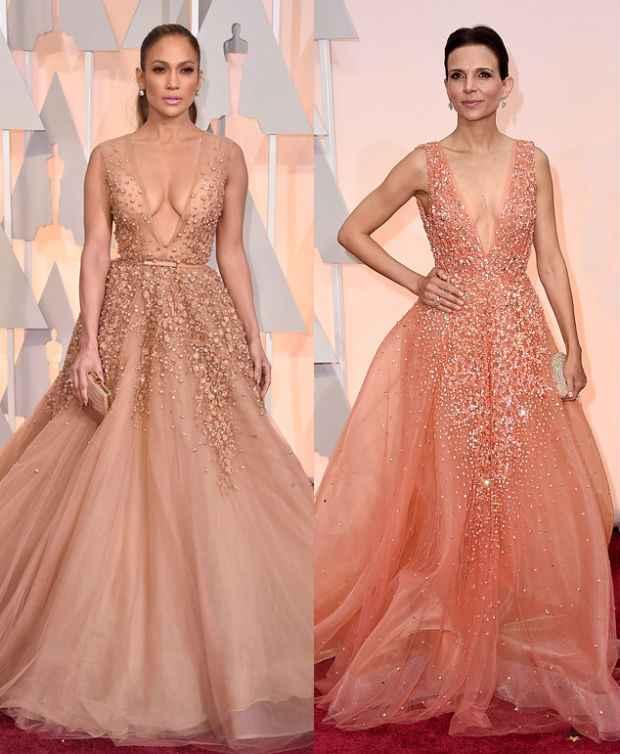 Jennifer Lopez à esquerda e Luciana Duvall à direita, com modelos quase iguais. Fotos: AFP/Divulgação