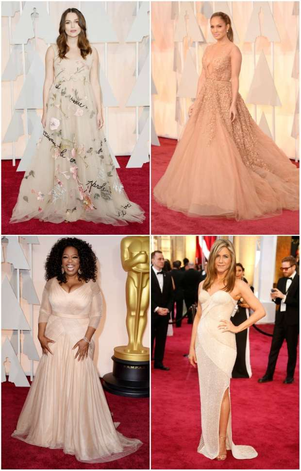 Já Jennifer Aniston e Oprah Winfrey apostaram no nude. Crédito: AFP