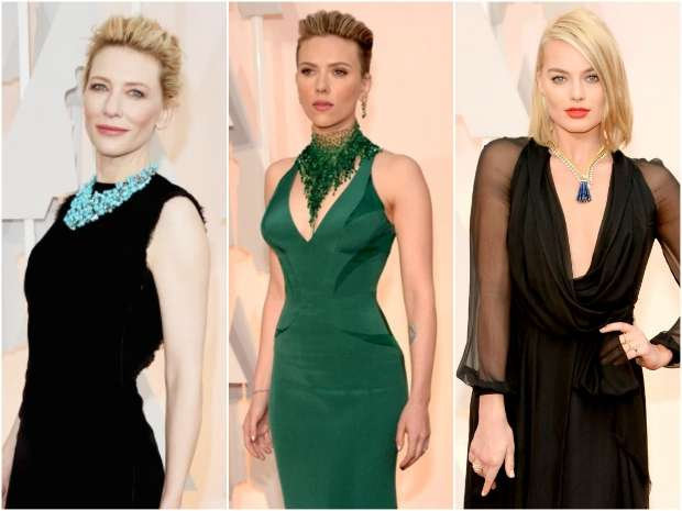 Já Cate Blanchett (esquerda) entrou na onda dos maxi acessórios. Crédito: AFP