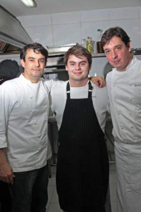 Chefs Hugo Prouvot, Júlio Prouvot e Bruno Didier. Foto: Roberto Ramos/DP/D.A Press