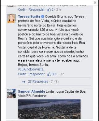 A prefeita de Boa Vista agradeceu a intenção de Bruna e a convidou para conhecer a cidade. Foto: Reprodução/Facebook