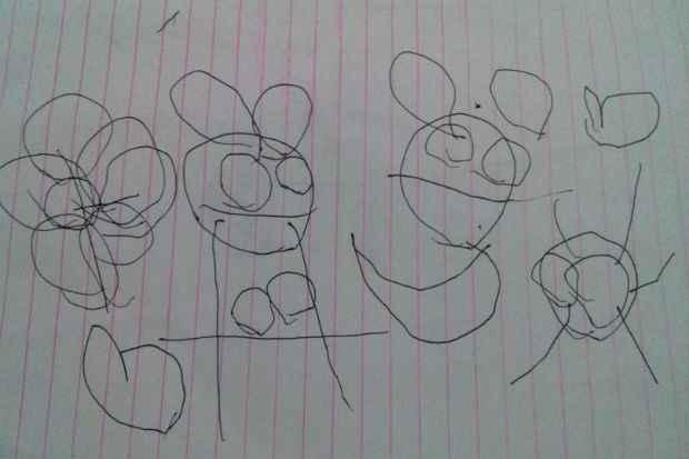 Desenho de David Souza, 3 anos, vencedor do concurso Meu Desenho Disney