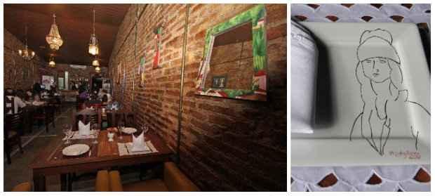 Charmoso sobrado com tijolos aparentes ganha decoração com as obras de arte da proprietária, presentes até nas louças do bistrô