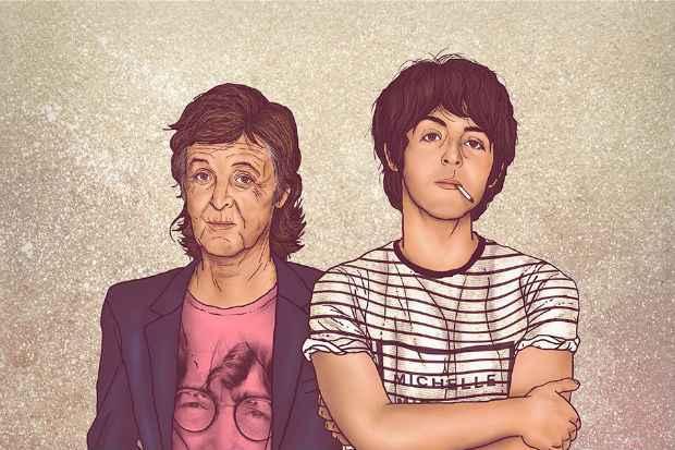 Paul McCartney encontra sua própria versão mais jovem em ilustração. Foto: Facebook/Reprodução
