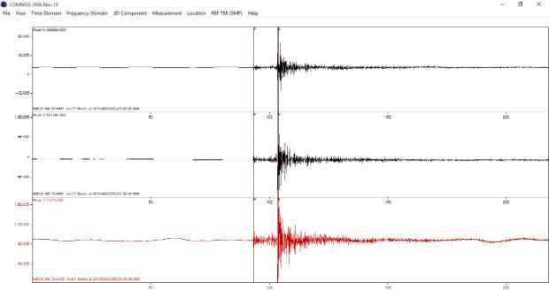 Registro do tremor na estação NBCA. Foto: Sismos do Nordeste/Divulgação