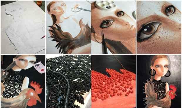 Nas fotos, a sequência de produção de tela para a série Ruivas, ainda em construção. Fotos: Arquivo pessoal/Divulgação