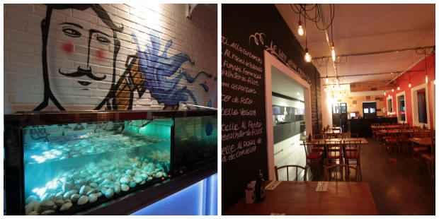 Restaurante apresenta um ambiente descolado que conta com grafites na parede, cardápio de lousa e aquário. Fotos: Roberto Ramos/DP/D.A Press.
