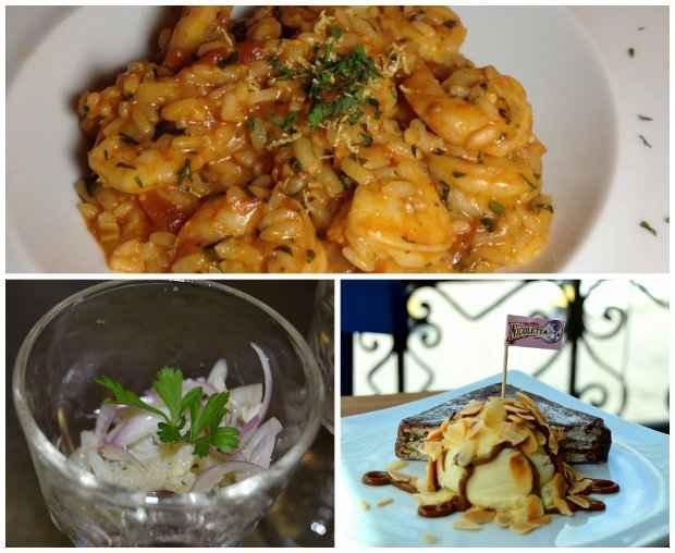Risoto de camarões; salada de bacalhau e a Palha italiana. Fotos: Facebook/reprodução