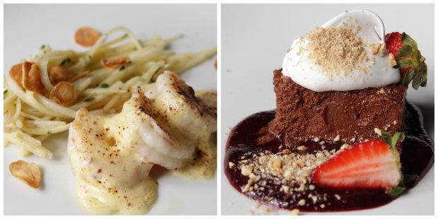 À esquerda uma releitura da lagosta ao termidor, com camarões, à direita uma das opções de cortesia para a sobremesa: Chocolate intenso com frutas verrmelhas e marshmallow Prouvot.