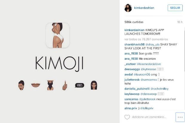 """Kim Kardashian apelidou seus emojis de """"kimojis"""". Foto: Reprodução/Internet."""