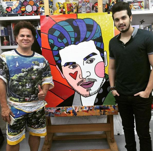 Luan Santana recebe quadro de Romero Britto. Foto: Reprodução/Instagram