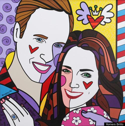 Casal real principe William e Kate Middleton. Arte: Romero Britto