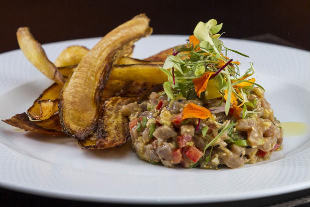 Um dos destaques do menu é o Tartare de atum nikkei, que vem acompanhado por chips de banana da terra. Fotos: Greg Rosa/Divulgacao