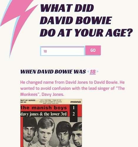 """No site, há a pergunta """"What did David Bowie do at your age?"""" (""""O que David Bowie fazia na sua idade?""""). Foto: Supbowie.com/Reprodução"""