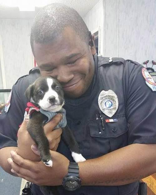 Marcus Montgomery saiu do local com o novo amigo nos braços e o chamou de Kylo. Foto: Facebook/Reprodução
