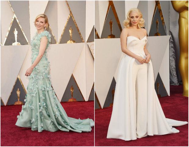 Cate Blanchett desfilou sobreposições feitas de plumas, e Gaga foi de macacão off white com saia sobreposta. Fotos: The Academy/Reprodução da internet e Getty Images/AFP