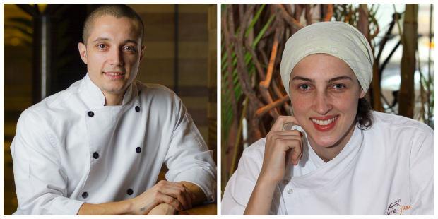 Chefs Wesley Rosa (esq.) e Priscila Deus (esq.) são os responsáveis pelo cardápio. Fotos: Jupiter/Divulgação