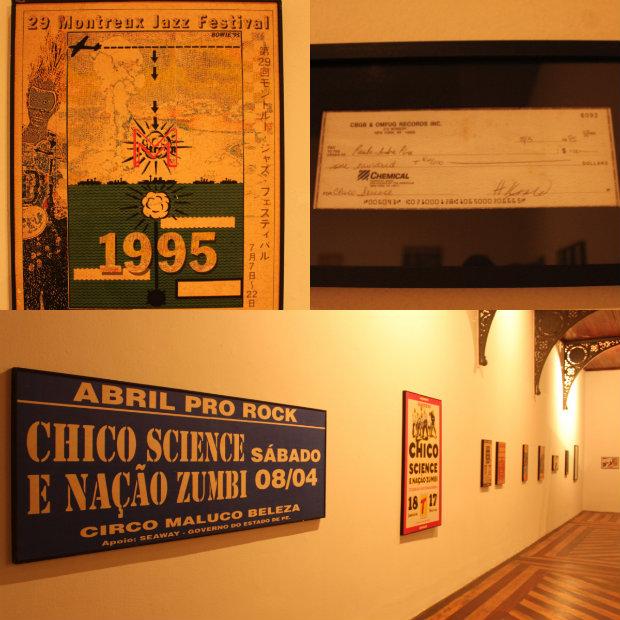 Pôster de Montreux, cheque em nome do CBGB e cartazes de shows estão em exposição no Mamam. Foto: Thaik Santos/Divulgação