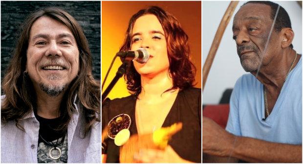 Lenine (Carbono), Alessandra Leão (Língua) e Naná Vasconcelos (Café no Bule) estão entre os pernambucanos indicados ao 27º Prêmio da Música Popular Brasileira. Fotos: Divulgação