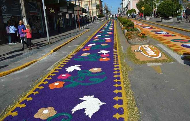 Em Flores da Cunha, na Serra Gaúcha, tradição de montar os tapetes tem mais de 50 anos. Foto: Bárbara Lipp/Divulgação