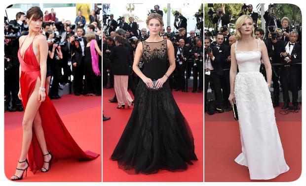 Bella Hadid, Mischa Barton e Kirsten Dunst acertaram no figurino para o Festival de Cannes 2016. Fotos: Vanity Fair/Reprodução da internet